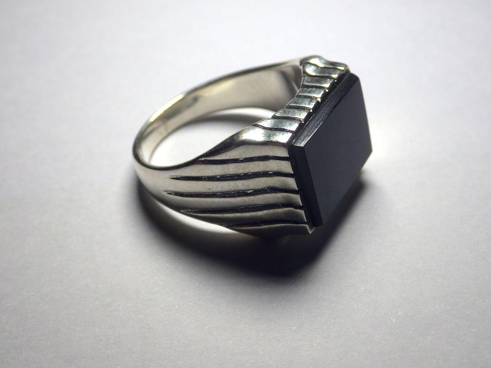 Herrenring Massiv 925 Silber echt Onyx Siegelring Silberring Handarbeit H003